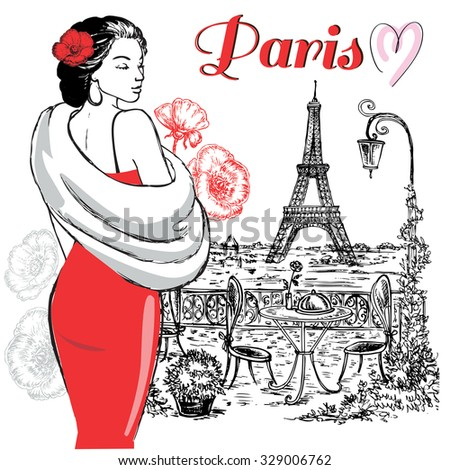 "The vector illustration ""beautiful woman in Paris"" for design"