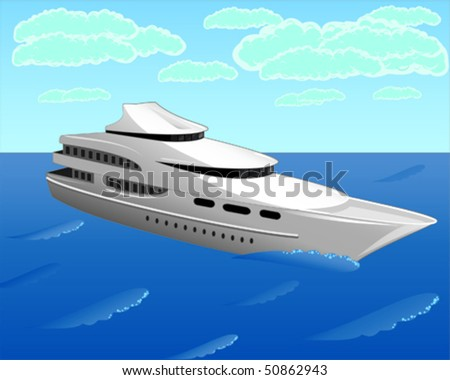 The vector illustration contains the image of the white yacht - stock vector