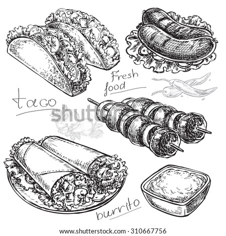 "The vector illustration ""hand drawn fast food burritos or tacos"" for design - stock vector"