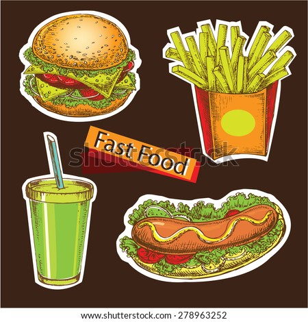 "The vector illustration ""hand drawn illustration fast food"" for design"