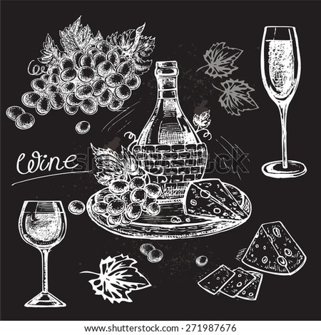 "The vector illustration ""hand drawn wine collection"" for design - stock vector"