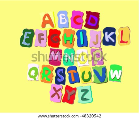 The vector illustration of colored alphabet
