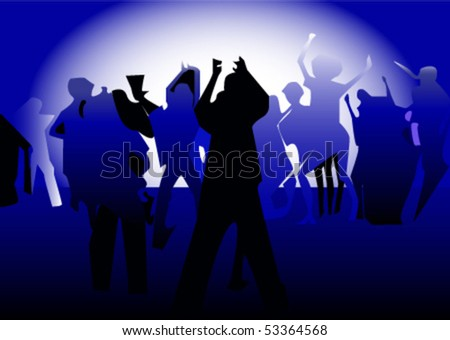 The vector illustration of dancing people