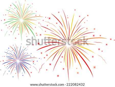 The vector illustration of fireworks  - stock vector