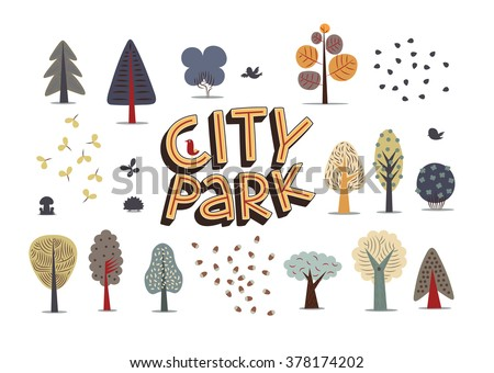 The vector illustration of flat city park elements - various trees, seeds and hand-drawn lettering on the white background.