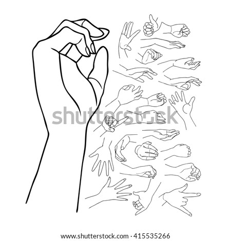 The vector illustration of hand drawn hands with various gestures.