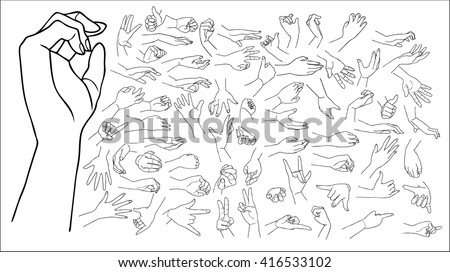 The vector illustration of hand drawn hands with various gestures, total pack
