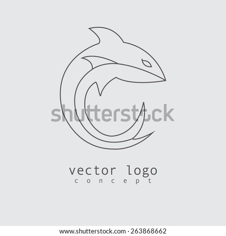 the vector illustration of logo with shark in line design style