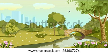 The vector illustration of summer park. Sun is shining.On the foreground there are pink flowers.The nature is in a good summer mood.