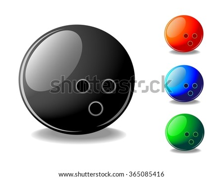 The vector illustration of the color bowling balls isolated in white background.