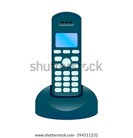 The vector illustration of the modern radiophone with the base, isolated in the white background - stock vector