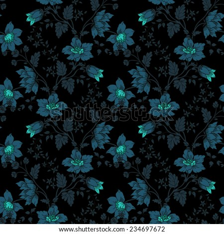 The vector illustration Retro floral seamless background - stock vector