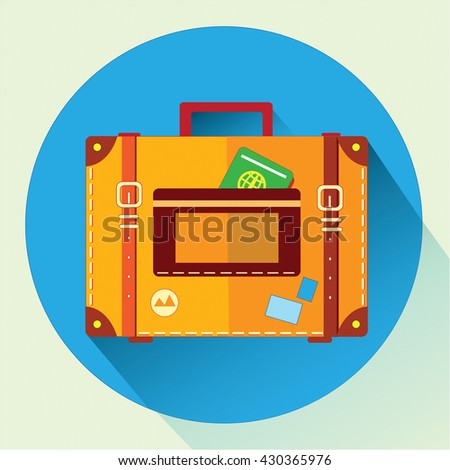 "The vector illustration ""suitcase flat icon"" for design"