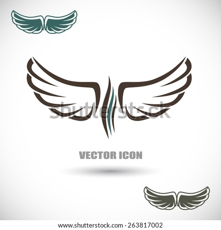 The vector image Label with wings - stock vector