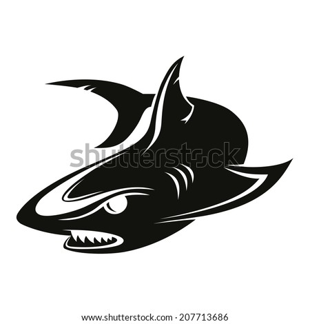 The vector image of a black shark - stock vector