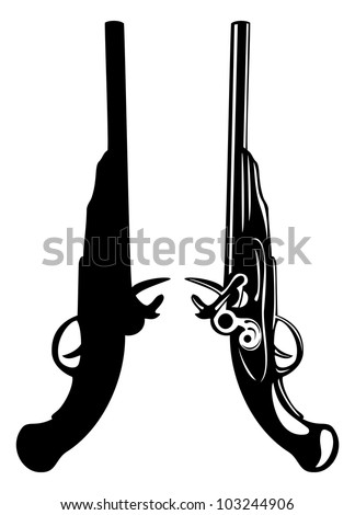 The vector image of an ancient pistol - stock vector