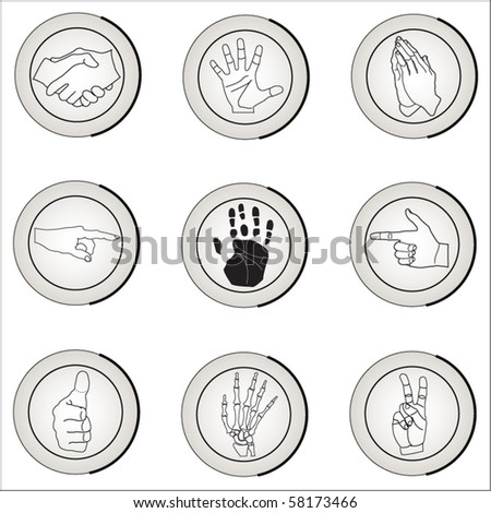 The vector image of icons on a theme of a hand, a palm of the person. - stock vector
