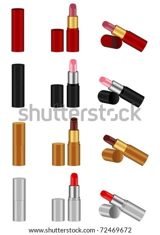 The vector image of lipstick of various kinds