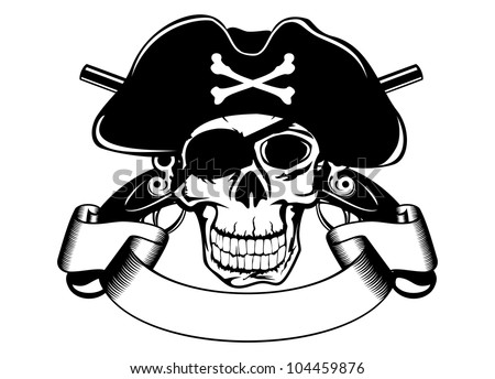 The vector image of piracy skull - stock vector