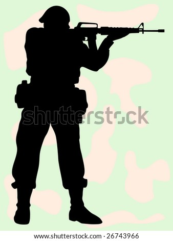 The vector image of the soldier on a background of a camouflage which shoots.