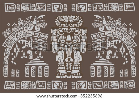 the vector mayan and inca tribal on old paper - stock vector