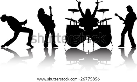 the vector musicans silhouettes set eps 8 - stock vector