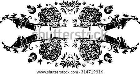 Line Art Flower Design : Fantasy design gryphon roses on gray stock vector