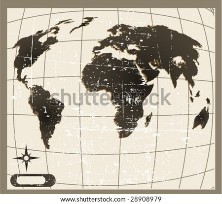 the vector old world map  eps 8 - stock vector