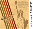 the vector retro Statue of Liberty background - stock