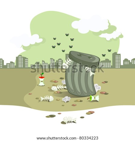 The Vector scene. On background of town landscape garbage tank. Around strewn rubbish. The Gray tone.