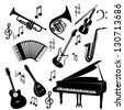 The vector set of musical instrument - stock vector