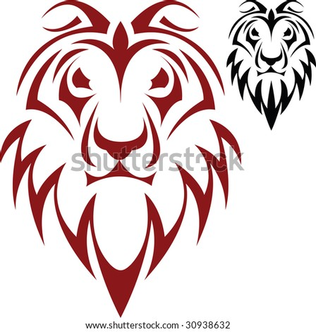 The vector sketch of a tattoo of a head of a lion - stock vector