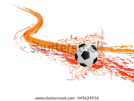 the vector socer ball with fire. - stock vector