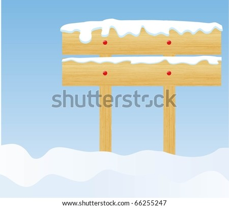 the vector winter background with wooden billboard - stock vector