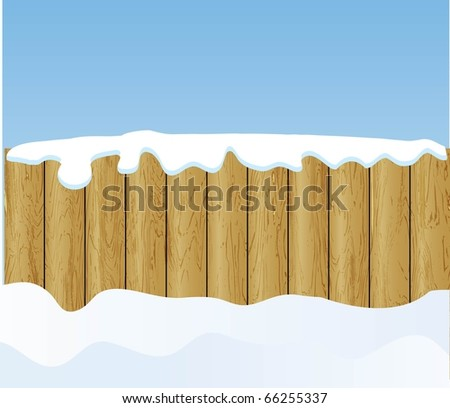the vector winter background with wooden fence - stock vector
