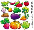 The vegetables. Isolated-background objects. Vector illustration. In this style there are files: fruit, baby food, baby toy. - stock vector