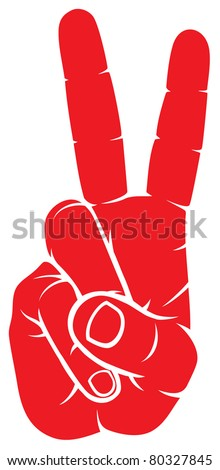 The Victory sign, hand gesture - stock vector