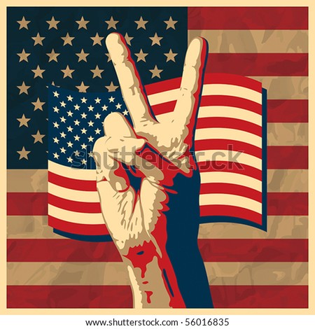 The Victory sign with USA flag background - stock vector