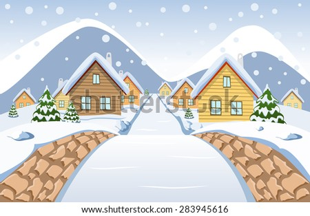 The view from the small stone bridge at the day snowy village - stock vector