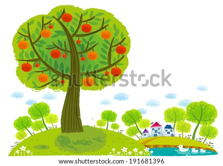 The view of apple tree around lake  - stock vector