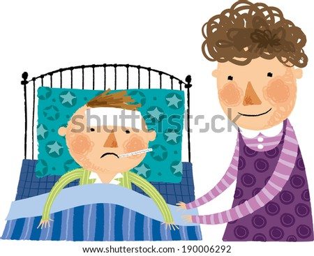 The view of boy in the bed with mother  - stock vector