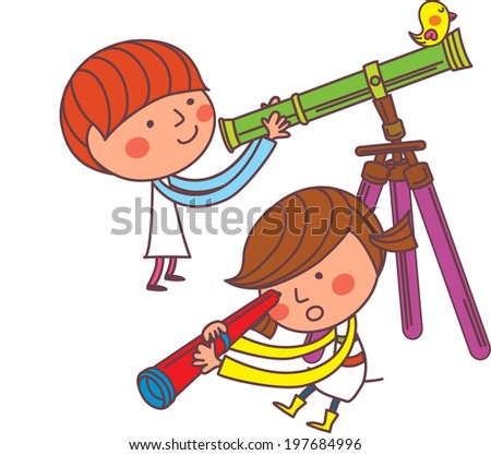 The view of children with telescope  - stock vector