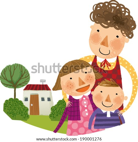 The view of family with house  - stock vector