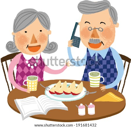 The view of old couple is sitting at the table  - stock vector