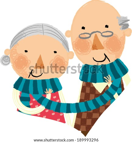 The view of old couple with muffler  - stock vector