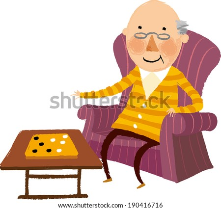 The view of old man is playing go  - stock vector