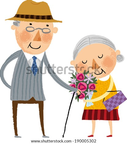 The view of old woman is holding a flower  - stock vector