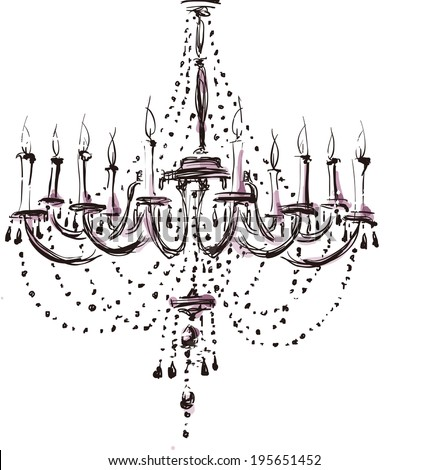 The view of wax candle set in chandeliers   - stock vector