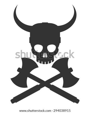 Viking Logo Skull Helmet Axes Stock Vector 294038915 - Shutterstock