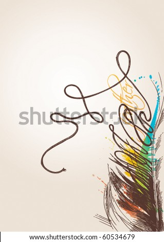 The vintage bird's feather is transformed to a thread on the beige background. Vector illustration. - stock vector